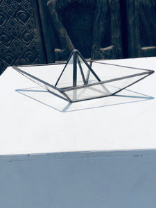 Stained clear glass 3D paper origami style sailing boat table top decoration Sculpture Tiffany technique - Small