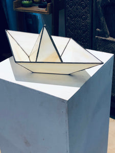 Stained glass 3D paper origami style sailing boat table top decoration Sculpture Tiffany technique