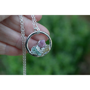 Custom Birthstone Necklaces made with Raw, Natural, Gemstones -Personalized