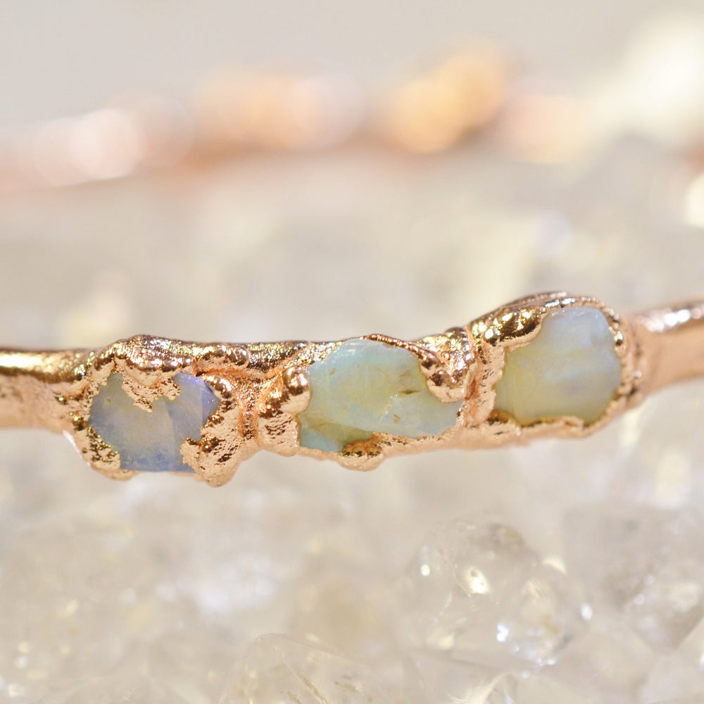 Australian Opal Bracelet // Rose Gold, Gold, or Silver Stacking Bangle