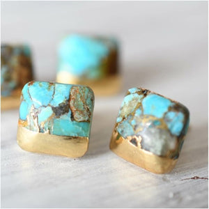 Square Turquoise Stud Earrings- Gold