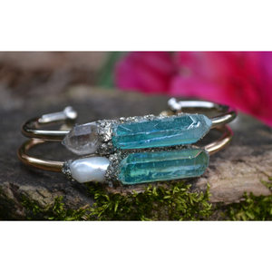 Aurora Aquamarine Crystal Quartz Bracelet with Herkimer Diamond or Pearl