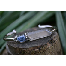 Raw Sapphire Bracelet- September Birthstone Bracelet With Clear Quartz