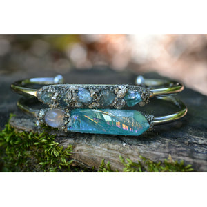Blue Apatite Cuff Bracelet- Natural Apatite Jewelry- Gift for Women
