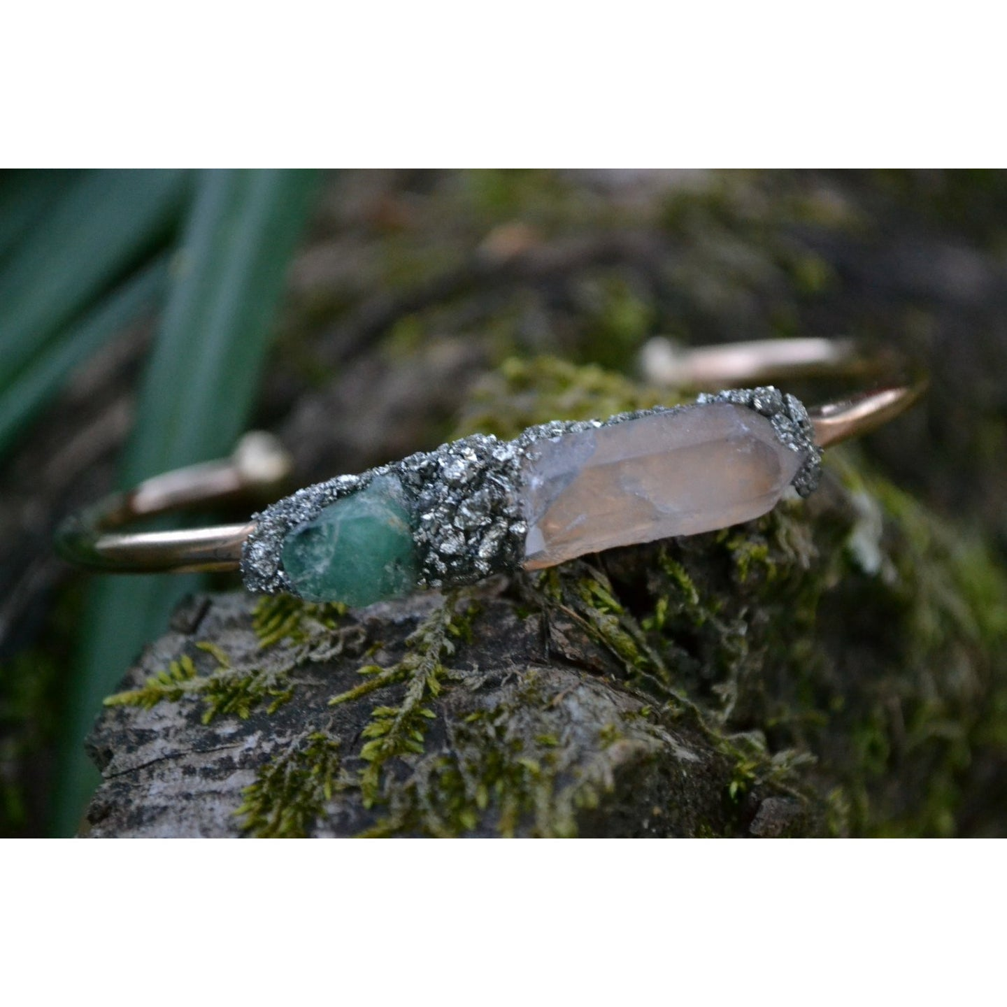 Emerald and Clear Quartz Bracelet- May Birthstone