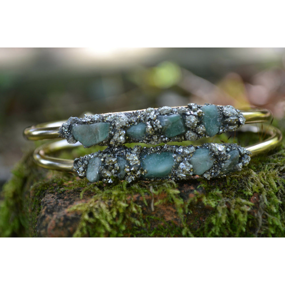 Raw Emerald Birthstone Bracelet with Natural Pyrite