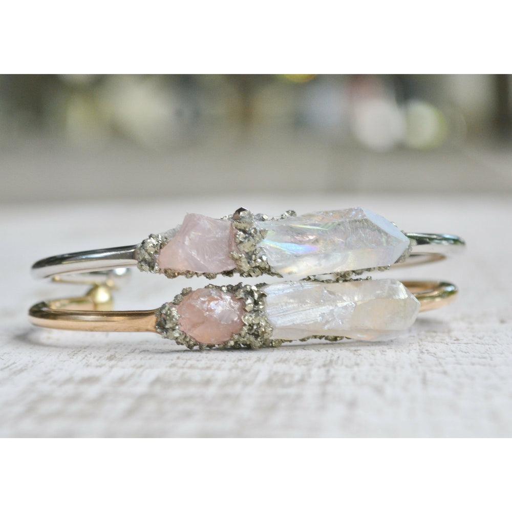 Rose Quartz and Crystal Quartz Bracelet