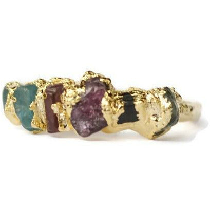 Birthstone Rings- Custom Rings made with Raw, Natural, Gemstones, 2 Stone, 3 Stone, 4 Stone, 5 Stone, Up to 8 Stones