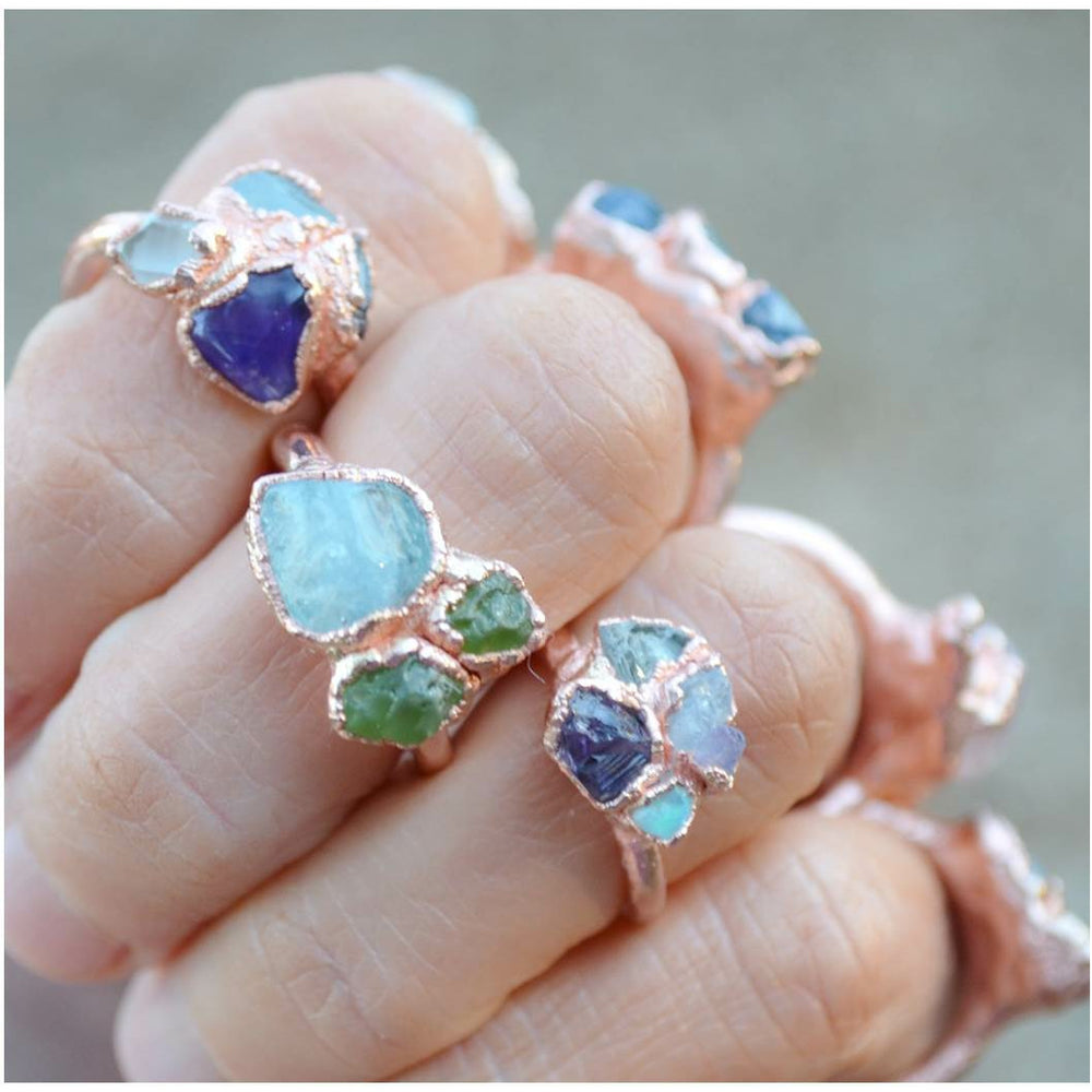 Birthstone Rings- Custom Mother's Rings /Raw, Natural, Gemstones, 2 Stone, 3 Stone, 4 Stone, Up to an 8 Stone Ring.