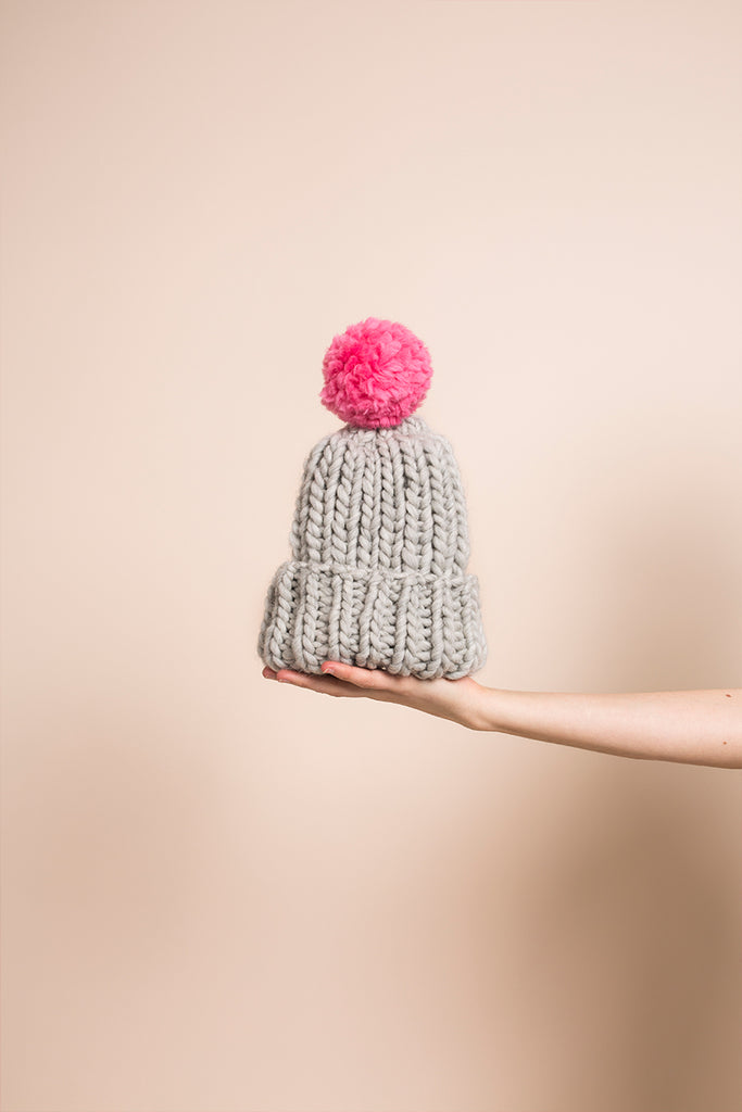 SOFT GREY BEANIE POMPOM - This Is Mool