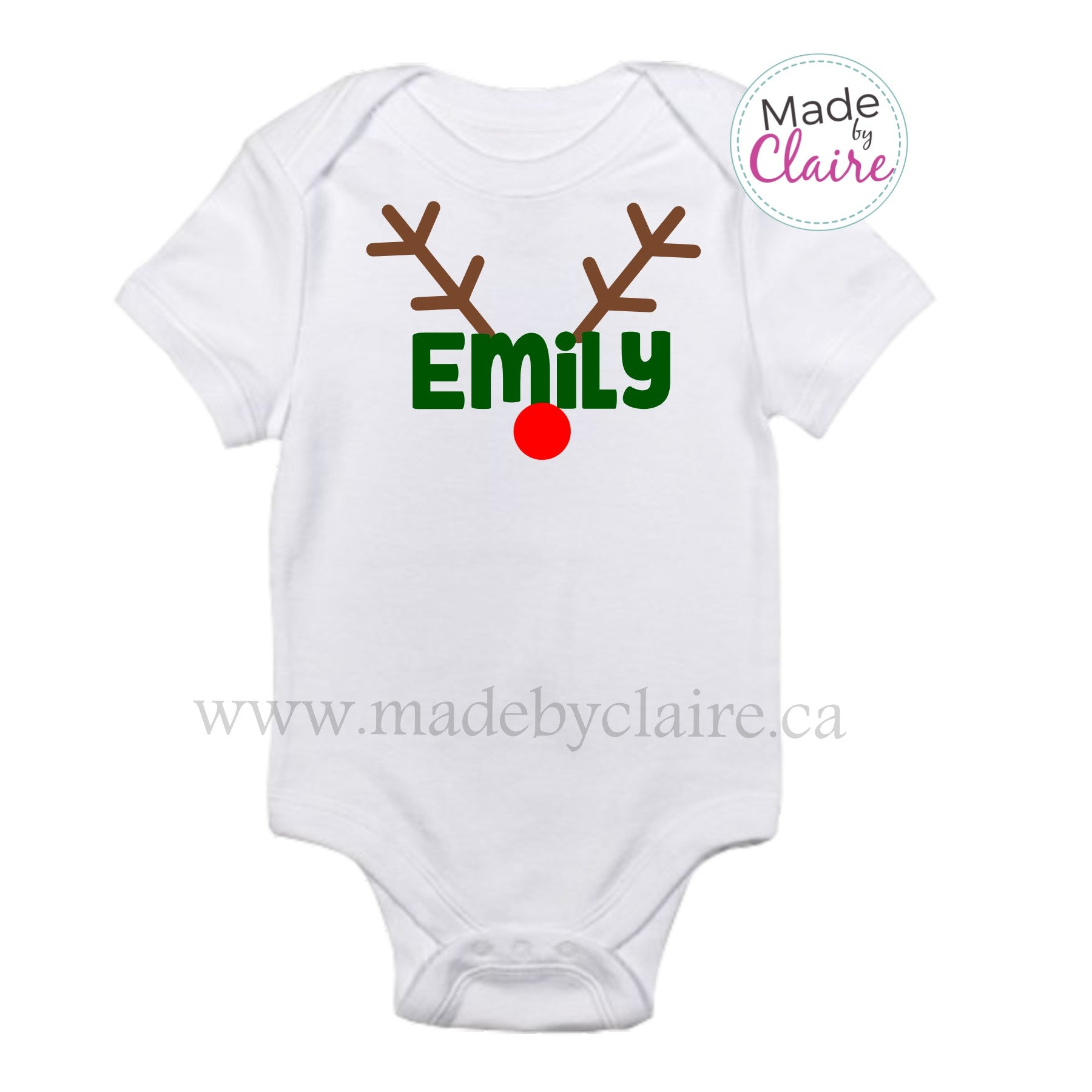 c67e011c9 Christmas Reindeer Onesie Personalized with Your Child's Name ...