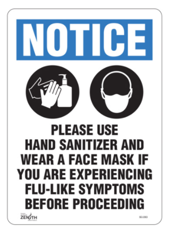 """Please Use Hand Sanitizer and Face Mask"" Sign"