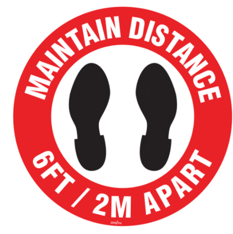 """Maintain Distance"" Floor Sign - English"