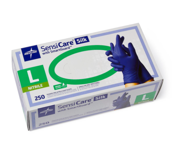 SensiCare Silk Powder-Free Nitrile Exam Gloves - Large (250/box)
