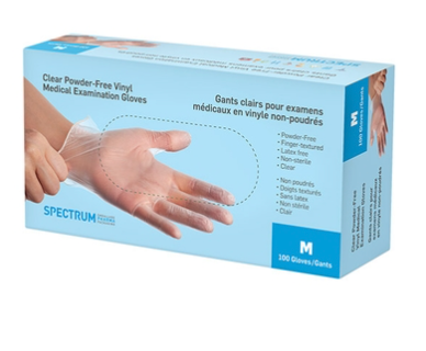 Clear Powder-Free Medical Examination Vinyl Gloves - Small (100/box)