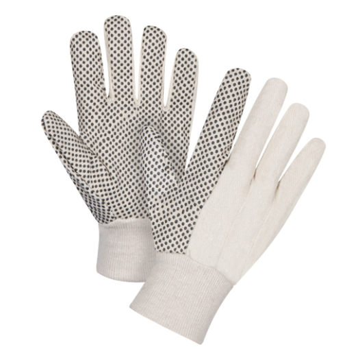 Cotton Canvas Dotted Palm Gloves - Small