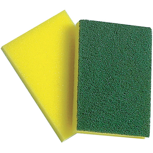 "Sponge With Scouring Pad 4"" x 6"" - Non-Cellulose"