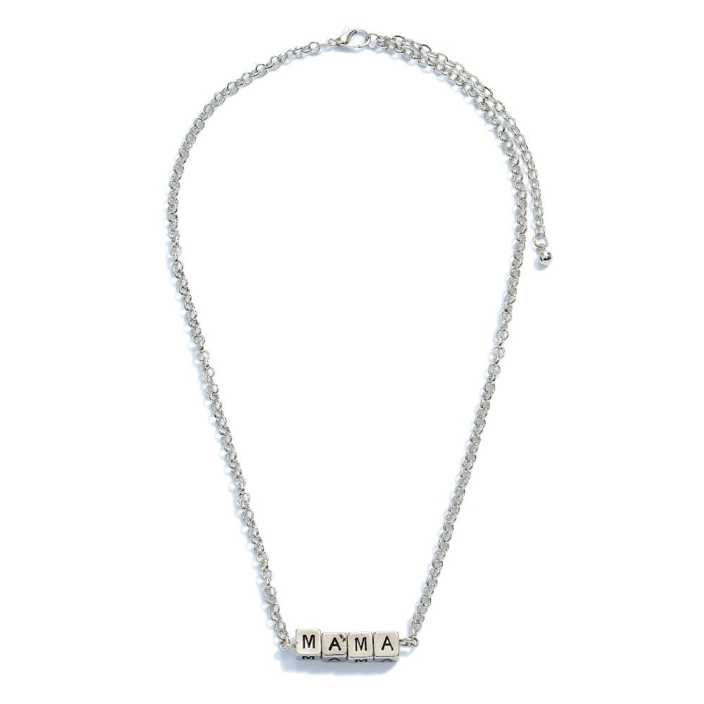 Mama Block Necklace Silver