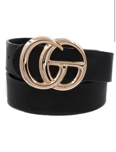 Faux Leather Buckle Belt- Black and Gold