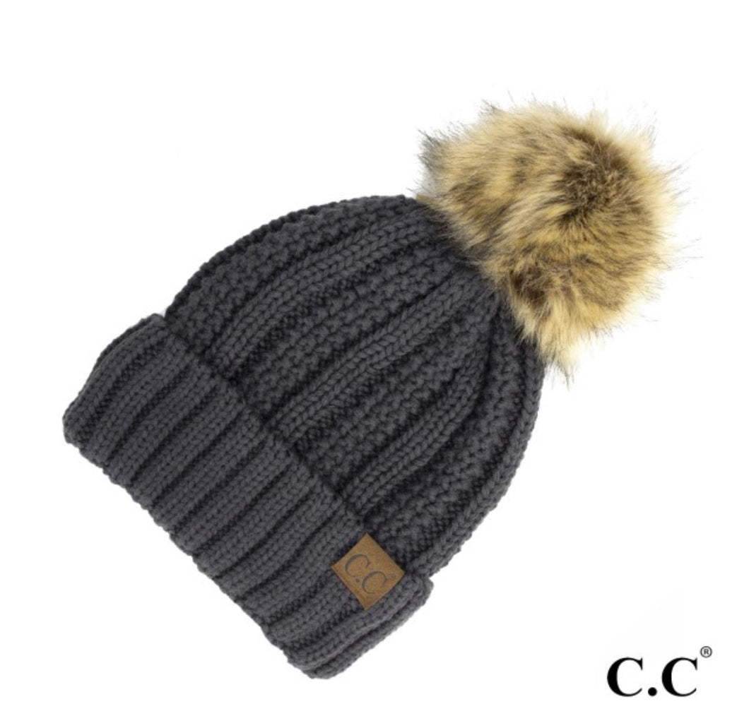 Fuzzy Fleece Lined Pom Hat