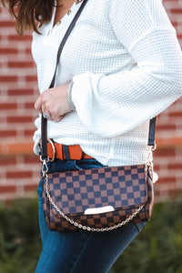 Valerie Checkered Crossbody Clutch Brown