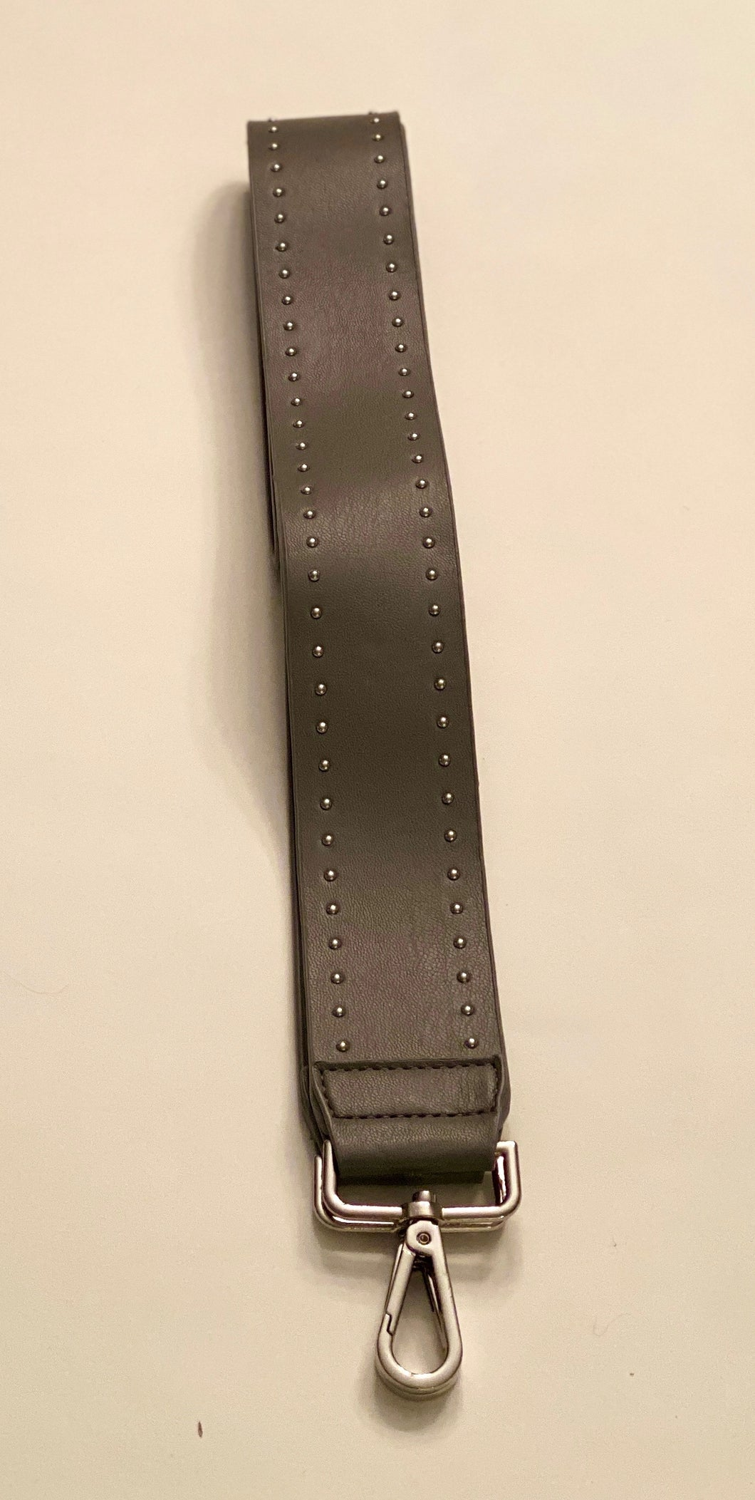 Faux Leather Studded Grey Strap