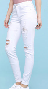 Judy Blue White DISTRESSED Stretchy Skinnies