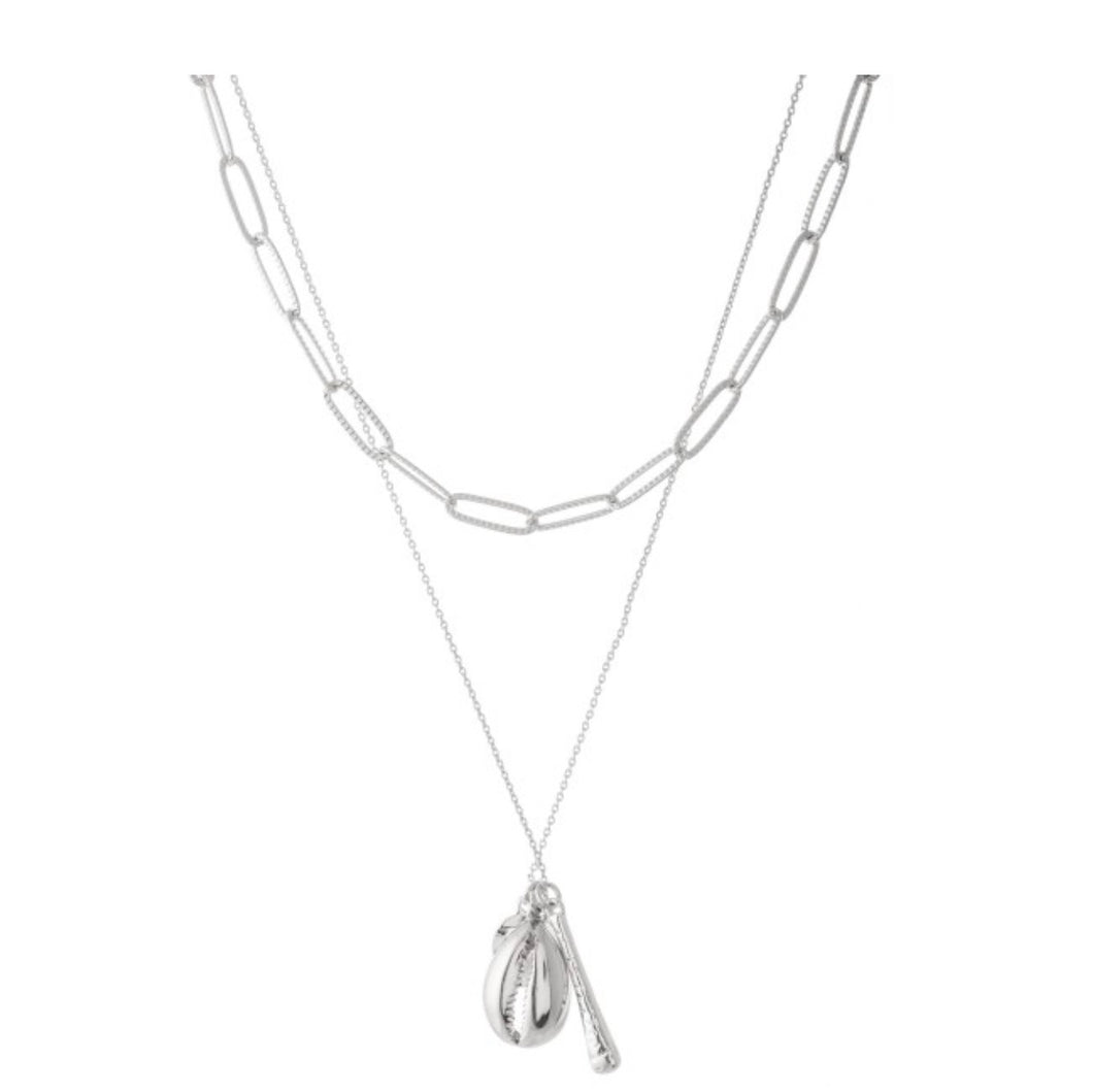 Double Layered Puka Shell Pendant- Silver