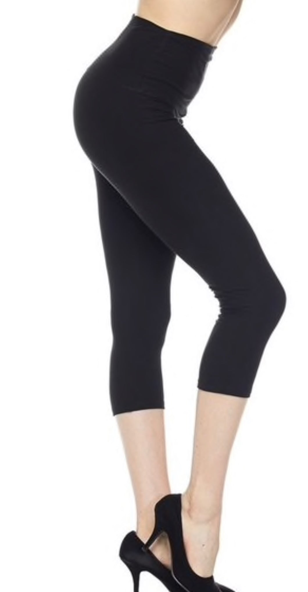 Yoga Band Buttery Soft Capris- Black One Size
