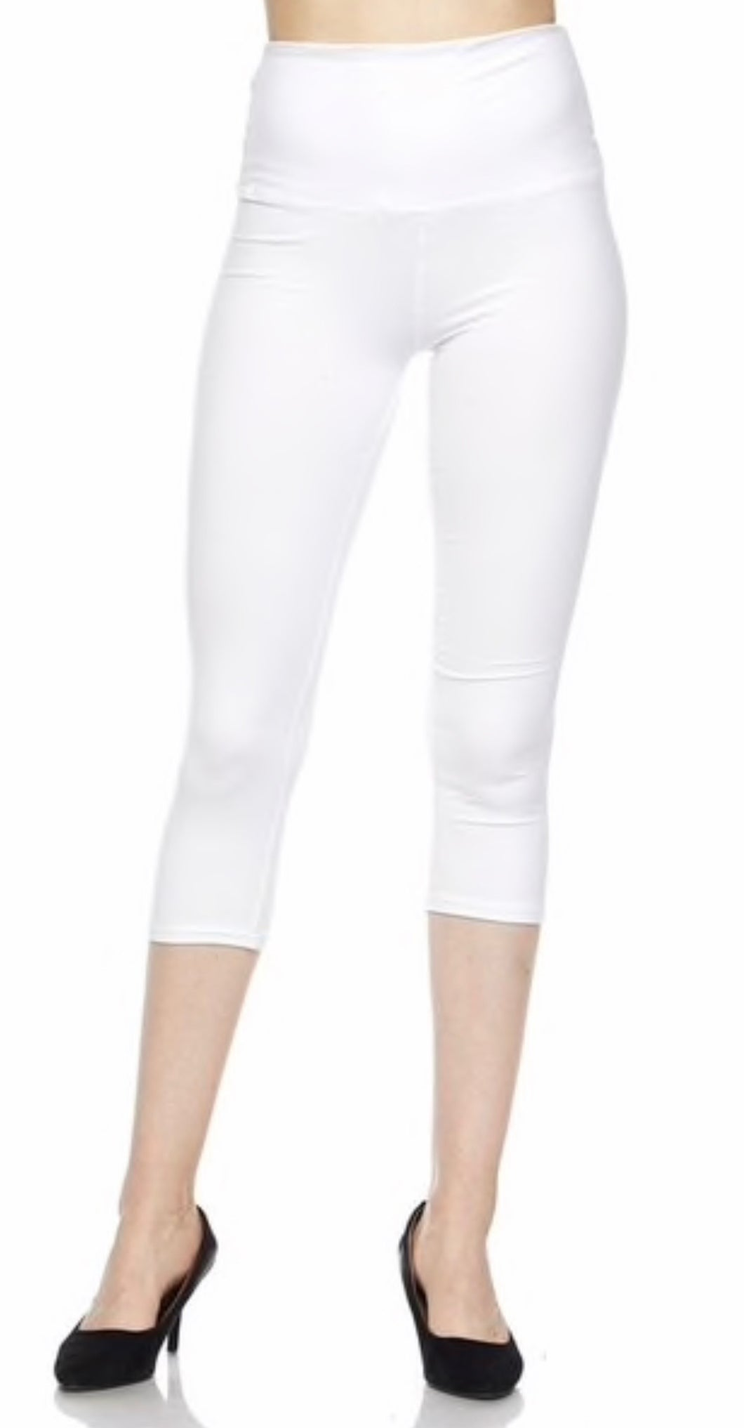 Yoga Band Buttery Soft Capris- White One Size