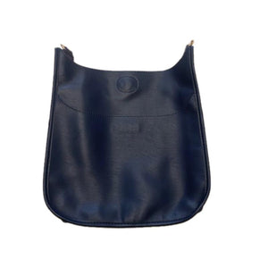 Navy Faux Leather Messenger Bag with Gold Hardware