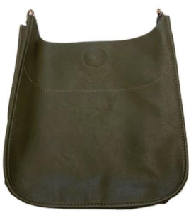 Army Faux Leather Messenger Bag with Gold Hardware