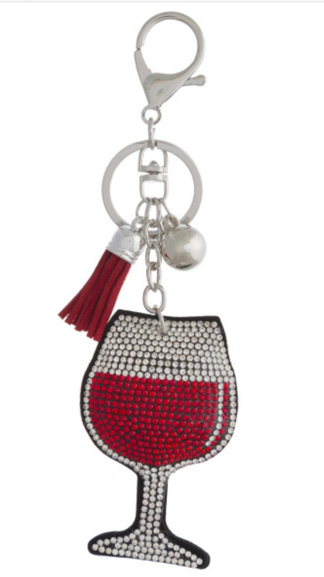 Wine Glass Bling Key Chain