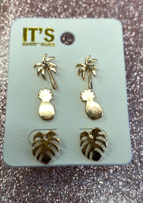 Gold Trio Tropical Earrings