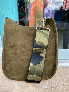 Faux Suede Olive Mini Messenger
