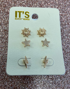 Gold Trio Bolt  Earrings