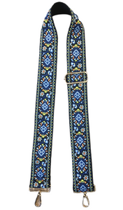 Embroidered Floral Strap Blue, lime and orange