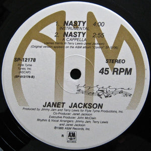 "JACKSON, JANET ""Nasty"" (1986) Extended mix 12"" single USED"