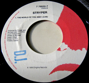 "STRYPER ""Keep the Fire Burning""/""The World of You and I"" [1988] 7"" single DJ copy USED"