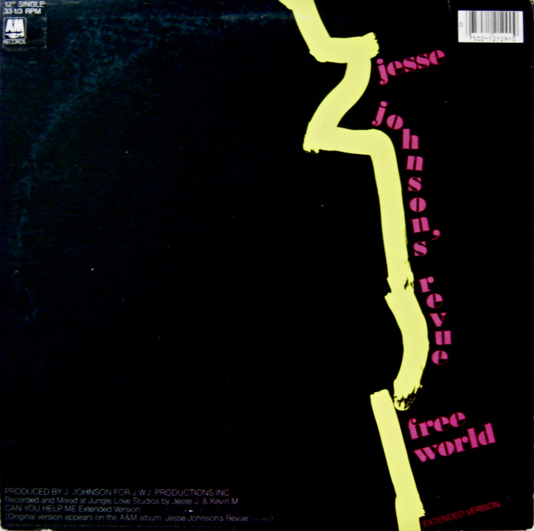 "JOHNSON, JESSE ""Can You Help Me""/""Free World"" (non-LP) [1985] 12"" sing –  Dr. Jeff's Fancy Vinyl"