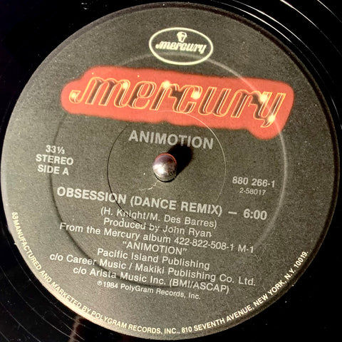 "ANIMOTION ""Obsession (dance remix)"" [1984] 12"" single USED"