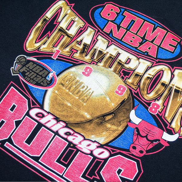 1998 Chicago Bulls 6-Time Champions Logo Athletic T-shirt