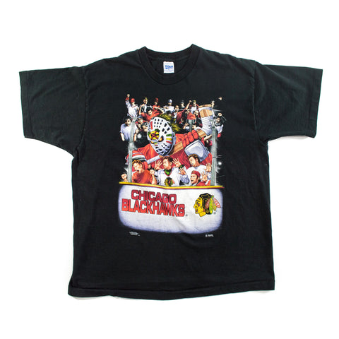 "1995 Chicago Blackhawks ""Board check"" Salem Sportswear T-shirt"