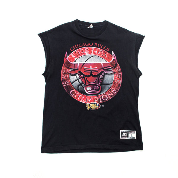 "1998 Starter Chicago Bulls NBA Champs ""Bulls Tour"" Sleeveless Parade T-shirt"