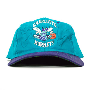 1993 Charlotte Hornets Logo Snapback Cap *SIGNED BY DELL CURRY & MUGGSY BOGUES*