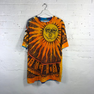 Liquid Blue Sun Moon hippie All Over Print
