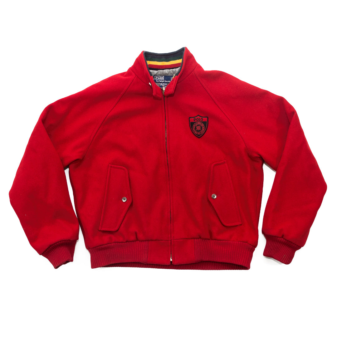 POLO Zip-Up Wool Letterman Jacket