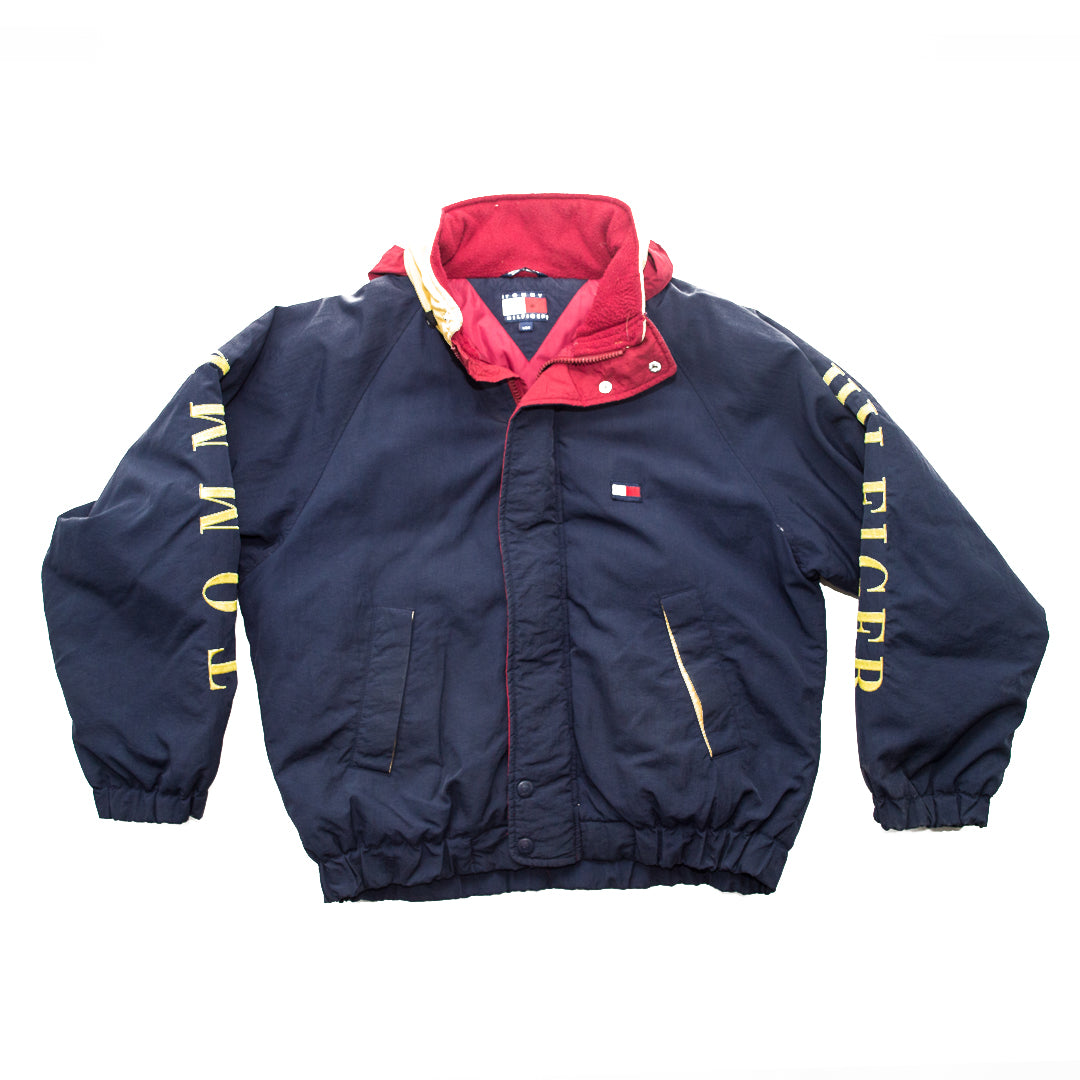 90s Tommy Hilfiger Colorblock Spellout Hooded Windbreaker Jacket