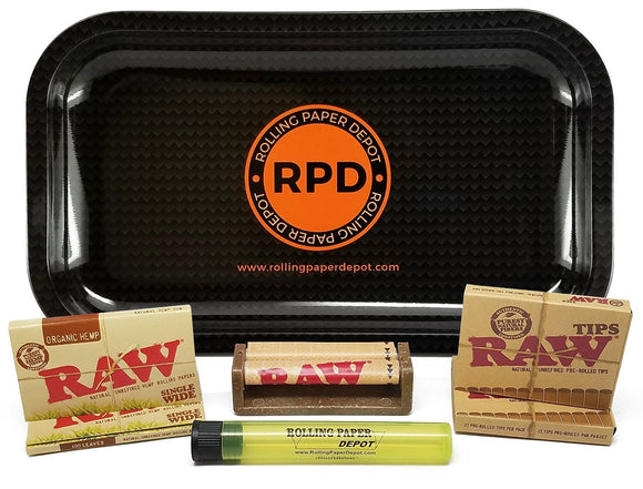 Bundle Rolling Paper Depot Rolling Tray (Carbon) with RAW Organic Single Wide Rolling Papers, Pre-Rolled Tips, 70mm Roller and Doobtube - Online Bongs, Pipes Trimeck.com