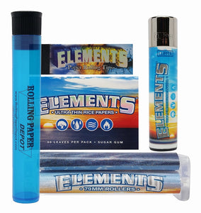 Bundle - 5 Items - Elements 1 1/2 Rolling Papers, Tips, Clipper Lighter, 79mm Roller and RPD Doob Tube - Online Bongs, Pipes Trimeck.com